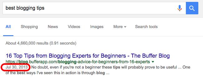 google results screenshot best blogging tips query