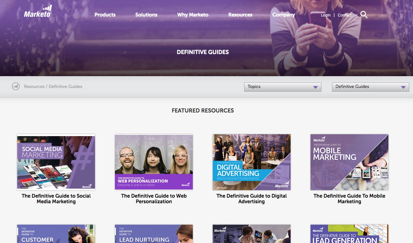 A screenshot of Marketo's definitive guides resource section