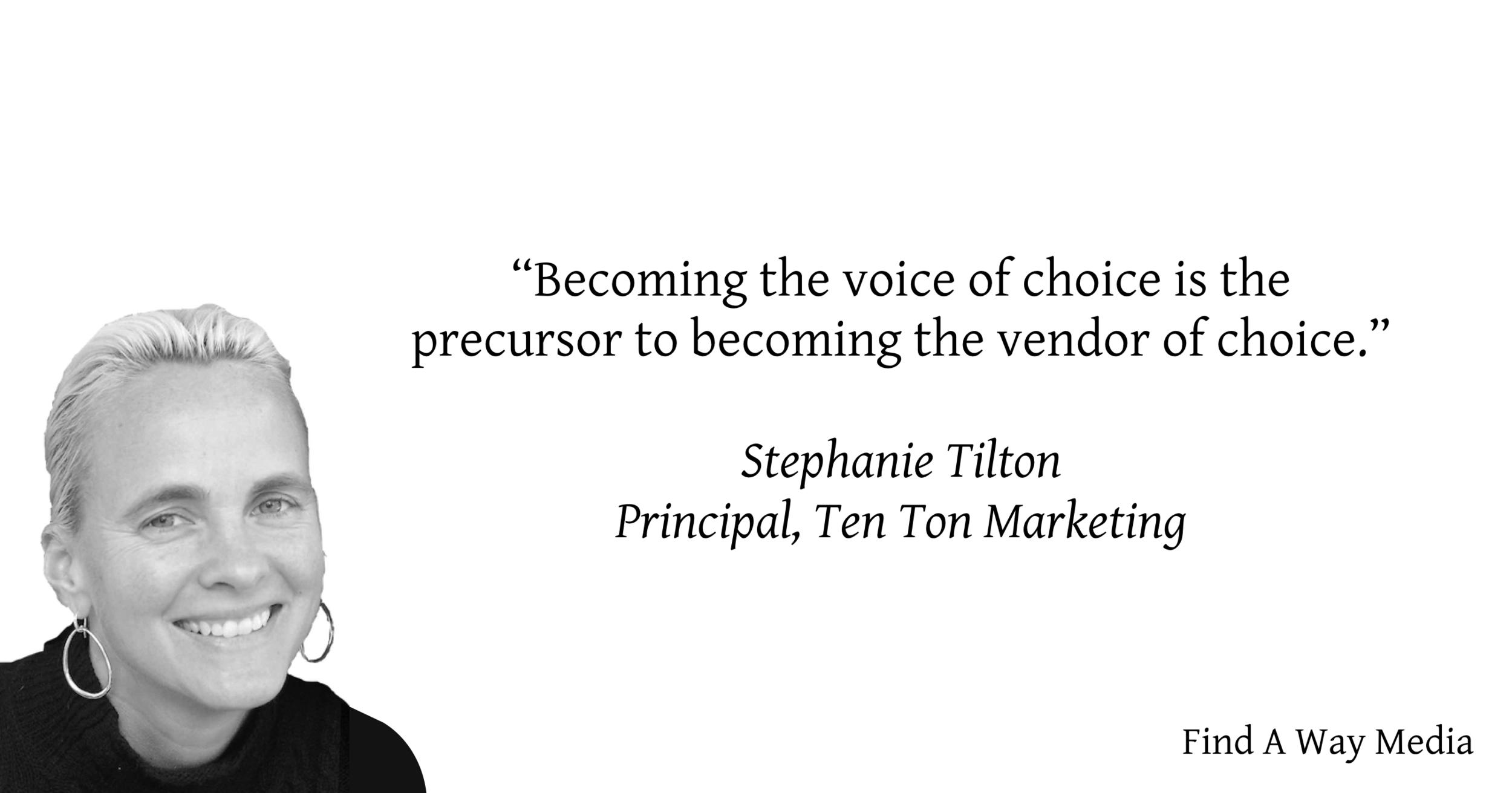 stephanie tilton ten ton marketing voice of choice find a way media