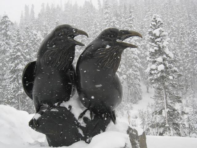 Bronze ravens keeping watch at Mount Baker Ski Area in Washington.