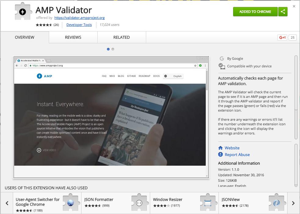 Chrome AMP Validator