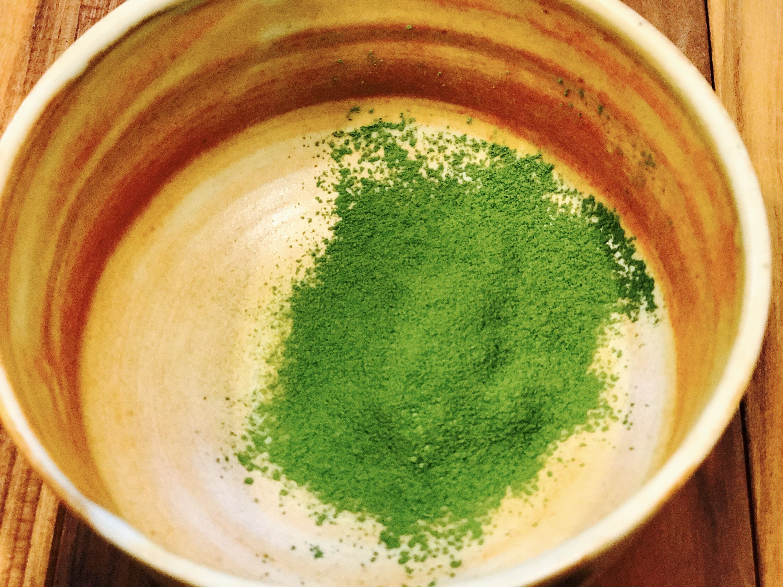 Matcha pressed through a sieve