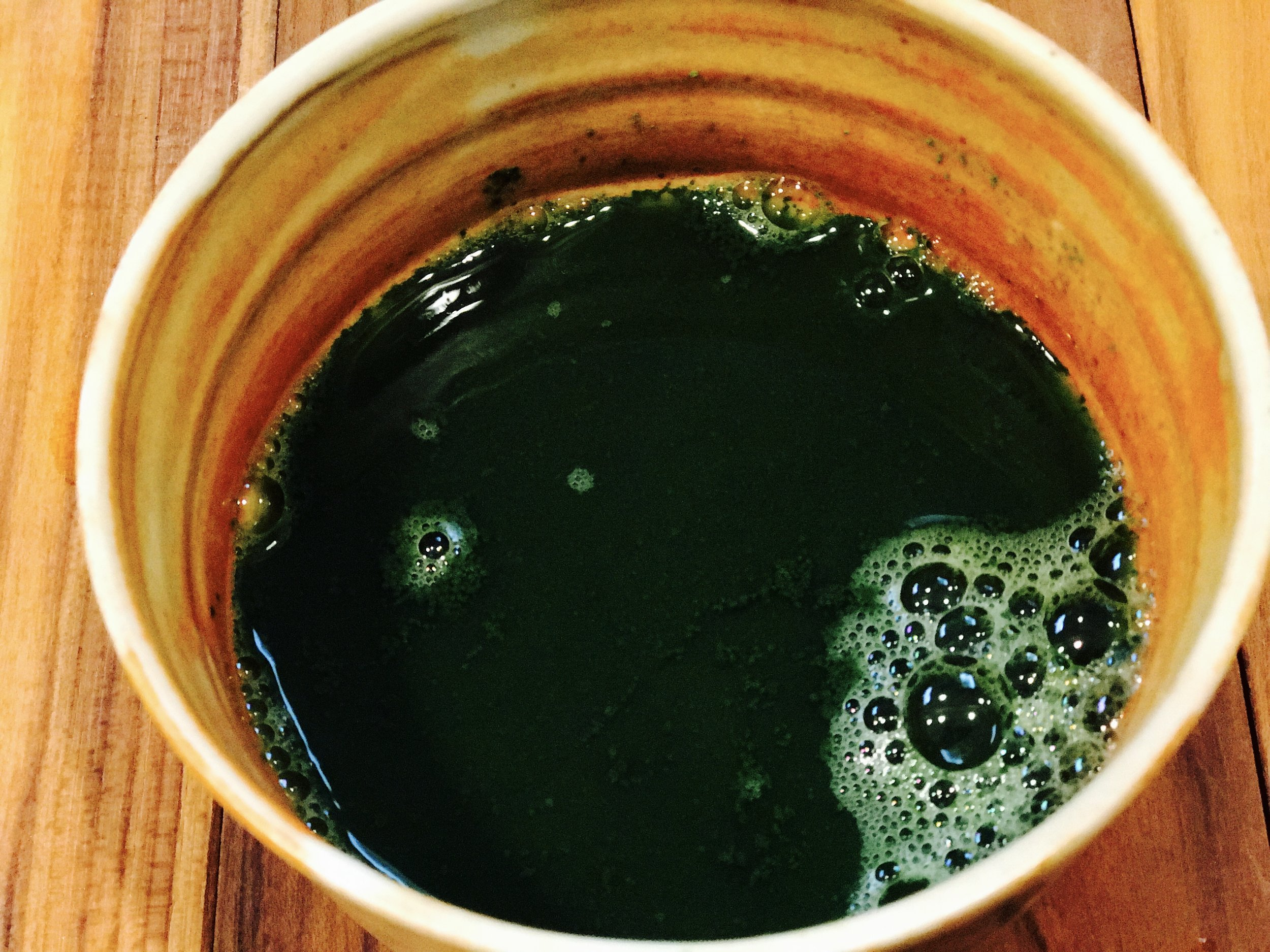 1.5 oz of water covering matcha