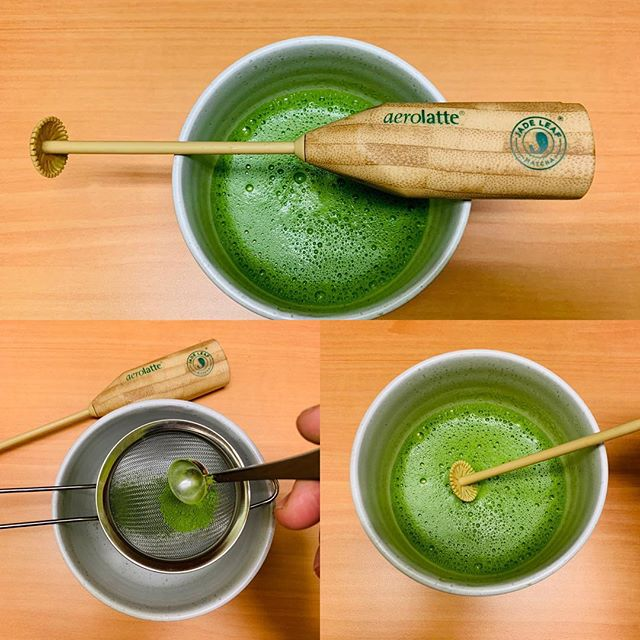 Yes I know I prefer my bamboo chasen over electric whisks and wooden chasaku over metal measuring spoons, yet I was curious about this set that contained a bamboo looking whisking. I actually thought it was bamboo when I bought it. Still it looks good, and did whisk up a frothy chawan of matcha. I'll keep this at my office for now as it comes in handy. Never can have too much matcha stuff, right???
