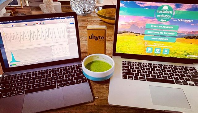 My morning meditation and matcha comparing @HeartMath and Unyte biofeedback programs. . Where the mind goes the body follows and vice versa. You can change your physiology and your health through something as simple as the breath, meditation and loving kindness. Don't believe me? Let me show you how!
