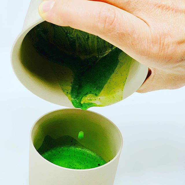Got to get every drop! . What is better than making your morning matcha in a incredibly stunning yuzamashi and pouring it into a sleek matching chawan? This amplifies the entire experience - adding visual and tactile sensation to the meditation. I purchased this duo from one of my favorite companies - @kototea  The artist is Nankei Ceramics.  I just love the color of these vessels, very earth and natural, which makes the vibrancy of the emerald green matcha just pop!