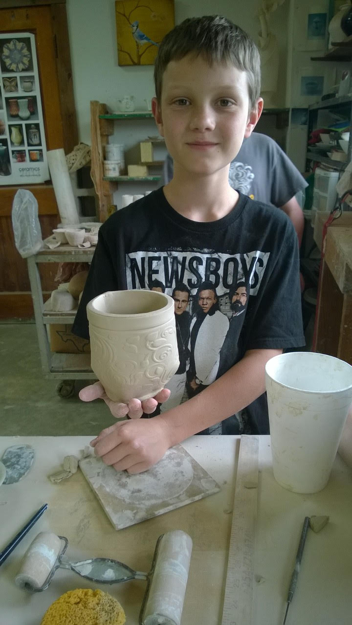 David Schilling is a 12 year old native of Caldwell, TX who enjoys creating pottery. His interest for pottery began at the age of nine, and he studies under Mrs. Rachel Norris at Joy Pottery in Bryan, TX. His pottery exhibit won Grand Champion in the 2015 Burleson County Fair. He also enjoys soccer, basketball, playing the drums and raising rabbits and chickens.
