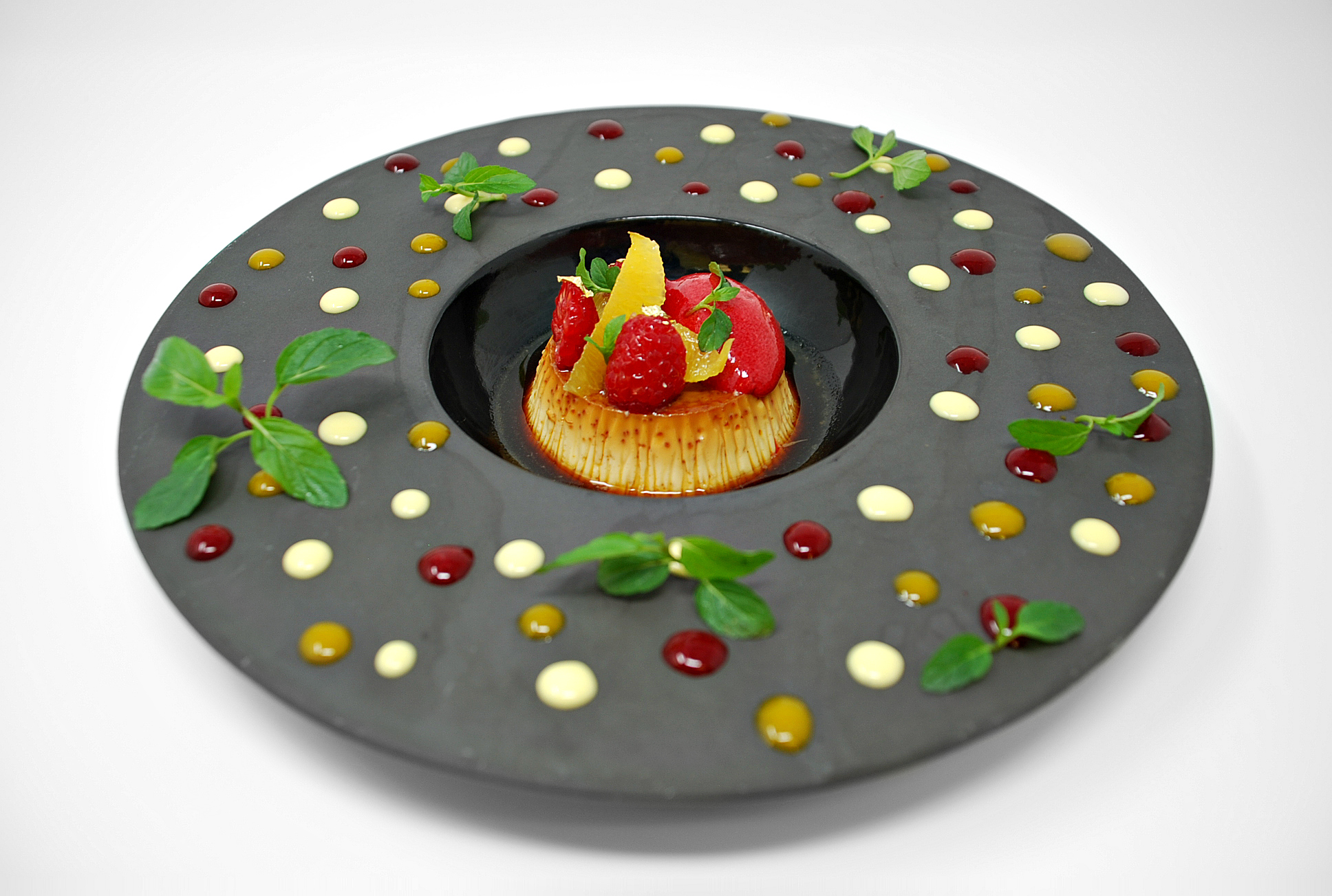 Caramel Flan, Clémentine, Mint and Raspberry