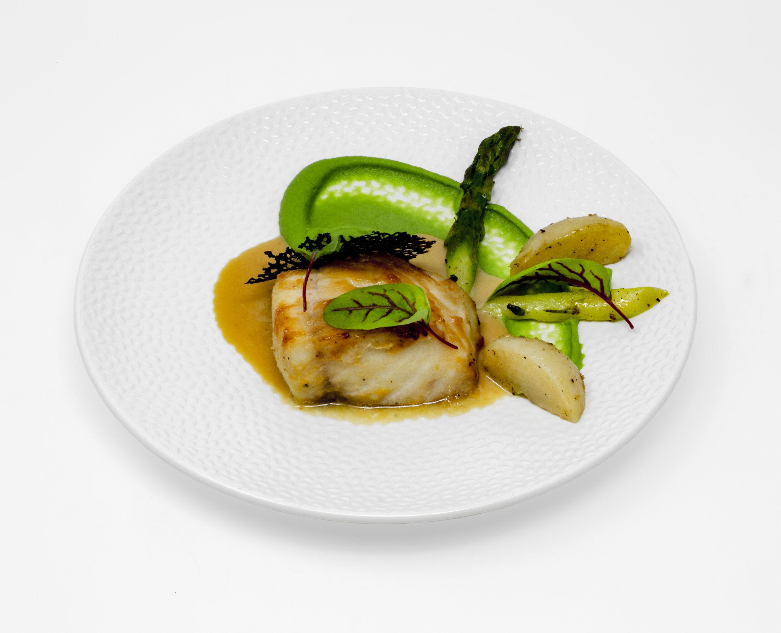 Roasted Sake-Miso Sable Fish, Sauteed Turnips and Asparagus, Edamame Purée.JPG