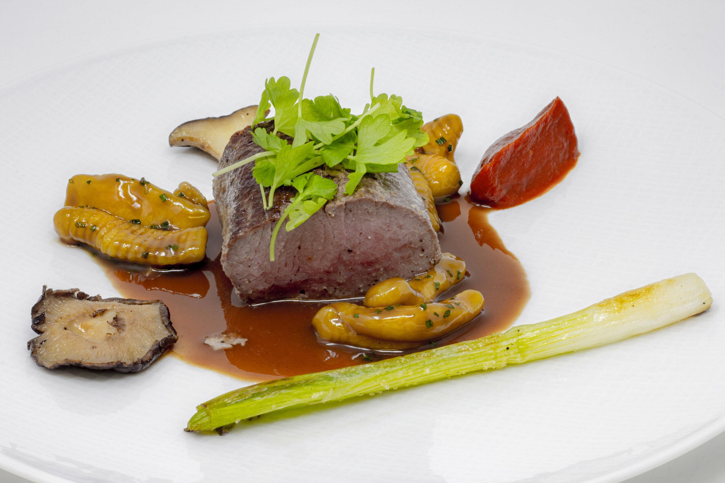 Lamb Loin, Cavatelli Pasta, Tomato Confit Purée, Grilled Scallion, Wild Mushroom, Périgourdine Sauce.JPG