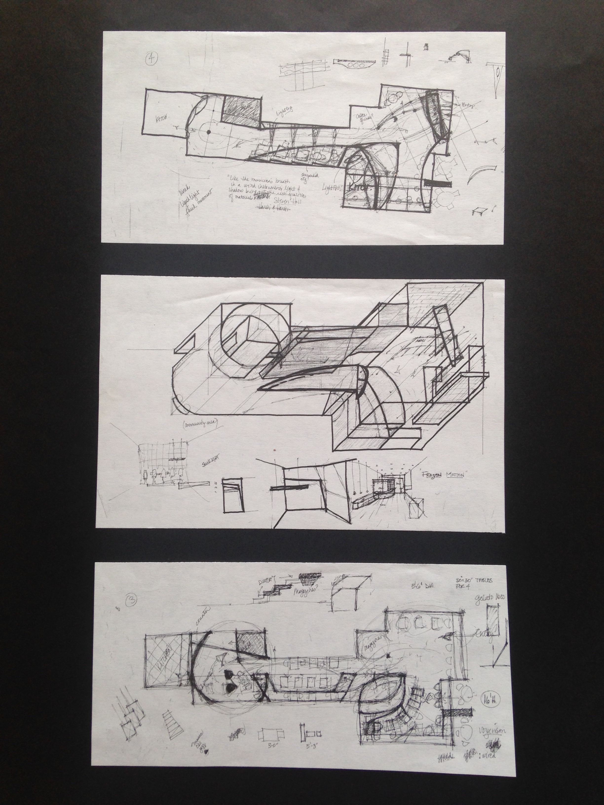 Concept sketches for a cafe, ink and pencil on sketch paper