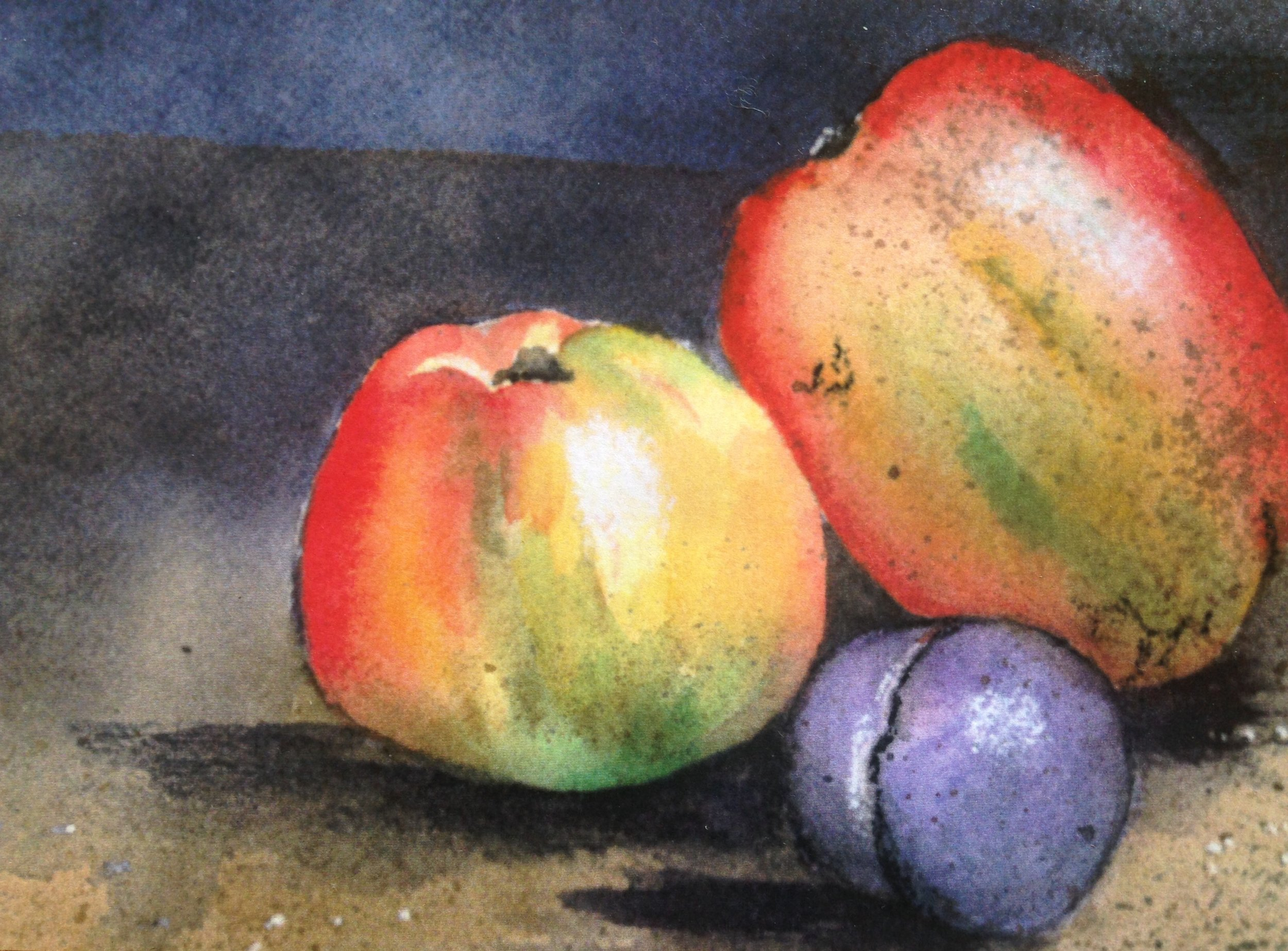 """Still Life with Fruit, watercolor (I call it """"Fruit on the Moon""""!)"""