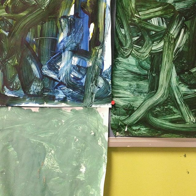 #colourinspo Gorgeous children's paintings from a classroom at Carlton Primary where I teach community yoga 💚💚💚