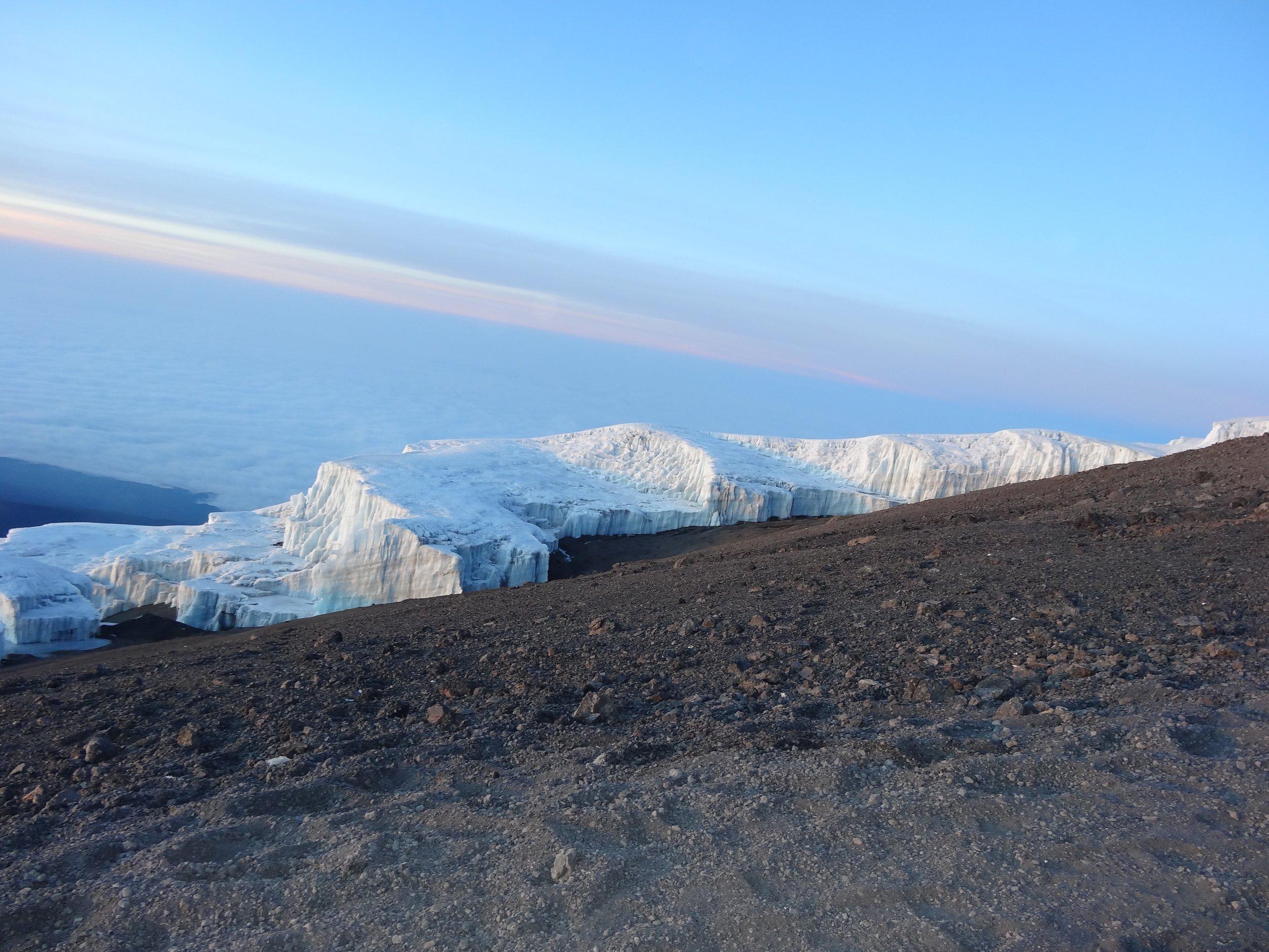 Ice walls just below the summit.