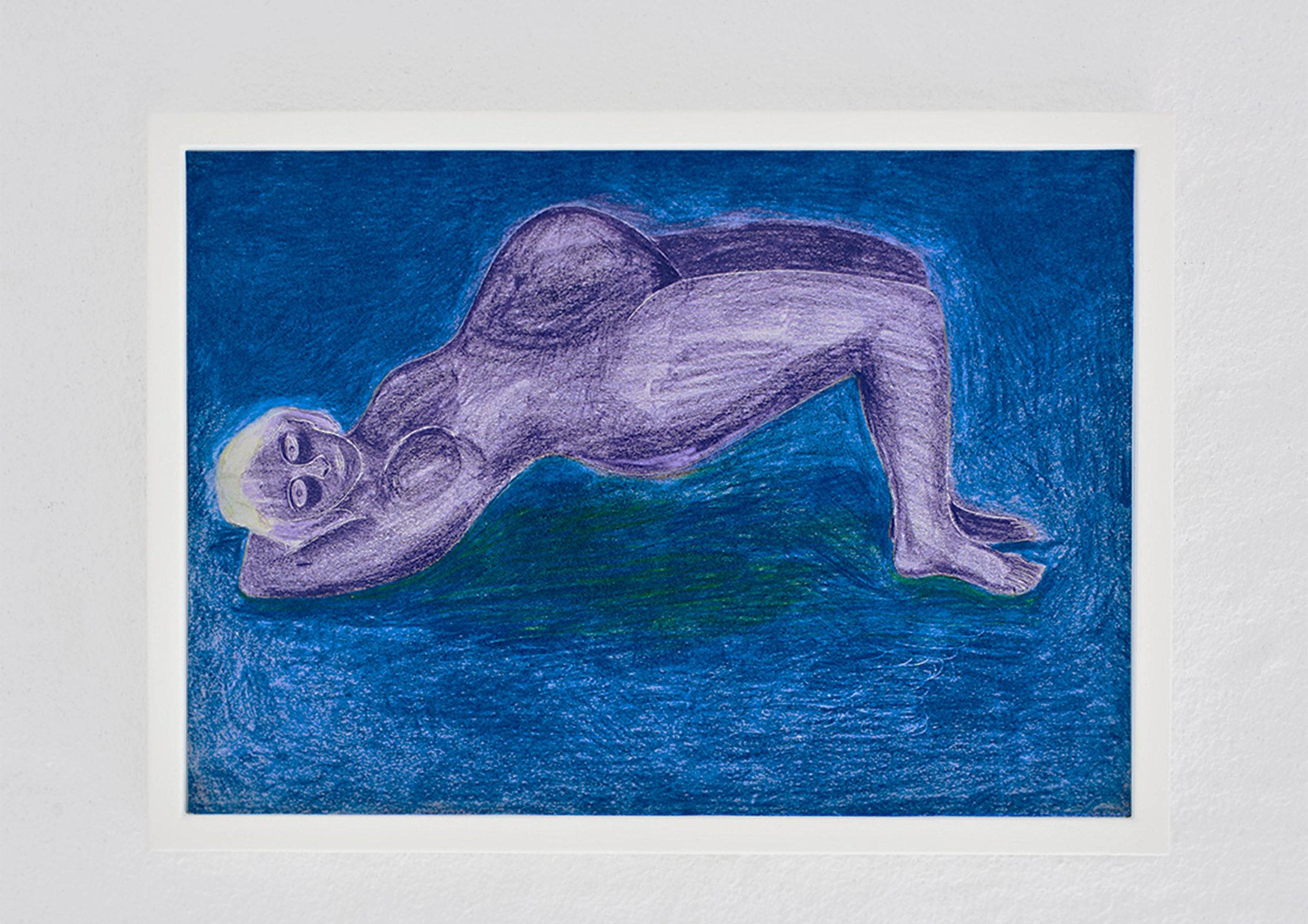 Gravid Maja / Pregnant Maja (2019), färgpenna på papper, 29,7x21cm, Moa Alskog