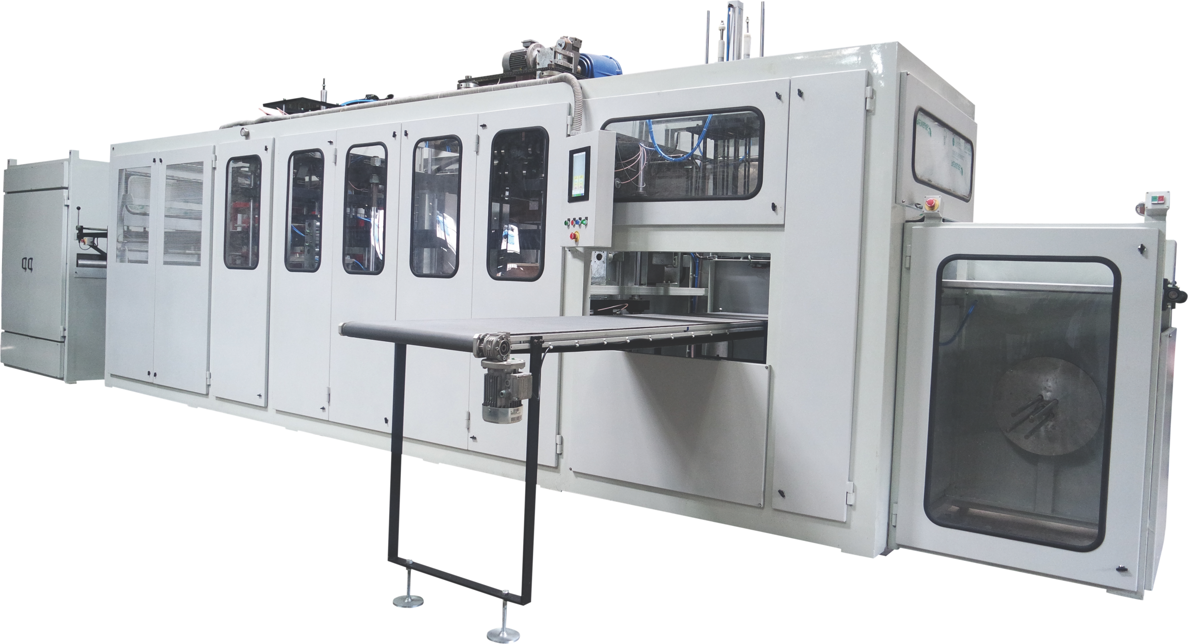 Servo Version - The Servo version has the forming station is driven by servo motors, punching using servo motors and stacking using servo motors as well. This is a fully automatic high speed machine which can run upto 30 cycles/min.
