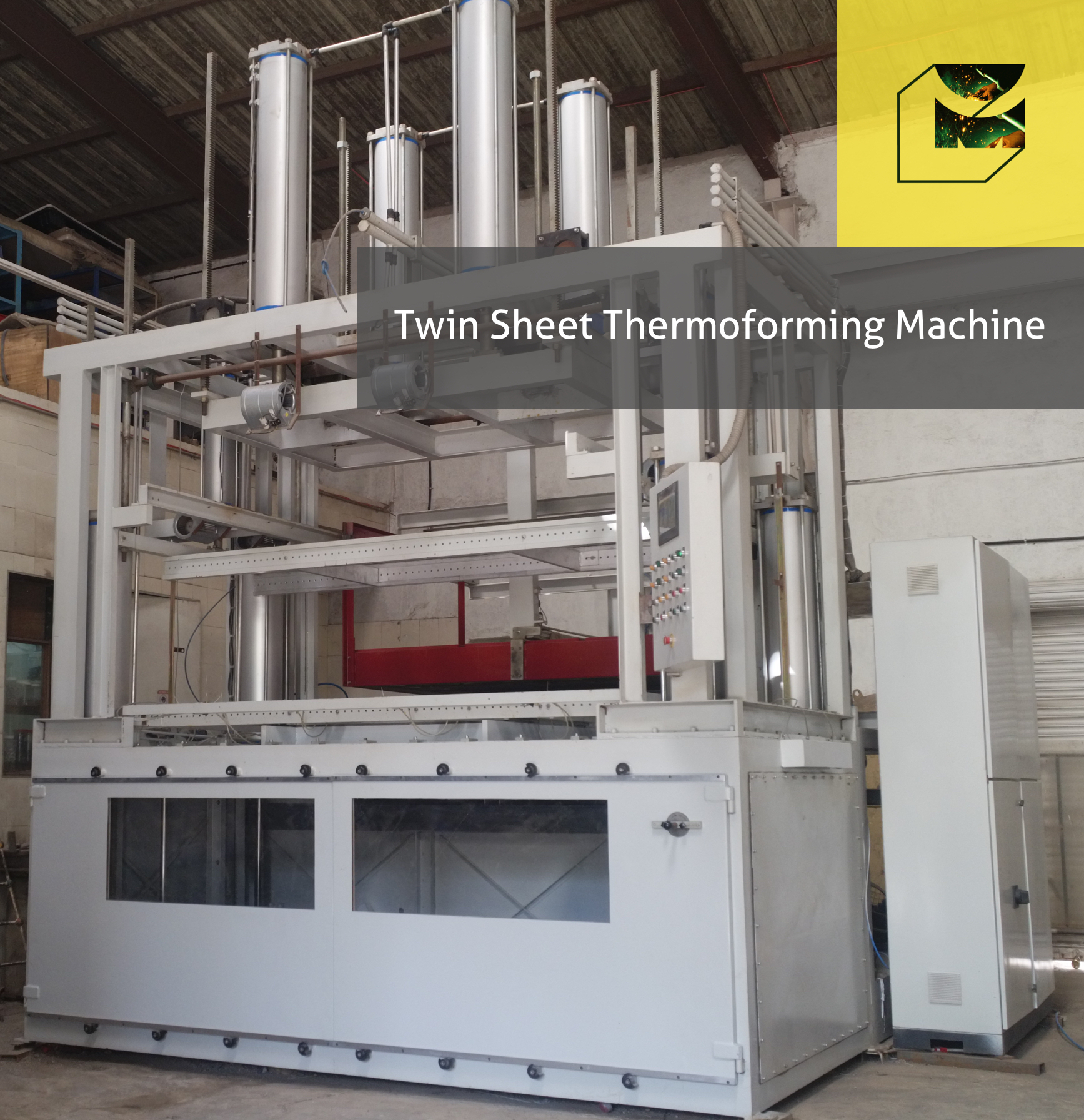 This is Machinecraft PF1 Series with Twin Sheet Forming Capability with Forming Area 1000 mm x 2000 mm
