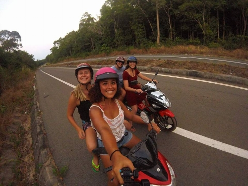 Matt and I (in the back) with a couple of our friends, riding motorbikes on Phu Quoc island!