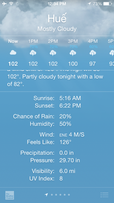 """A screenshot of the weather forcast from when we were in Hue, Vietnam (look at the """"feels like!"""")"""
