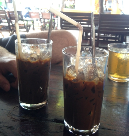 Iced Vietnamese coffee with condensed milk. YUM!
