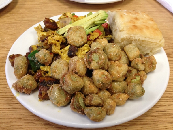 """""""The Mess"""" (left), a biscuit (right), a fried okra (front)"""