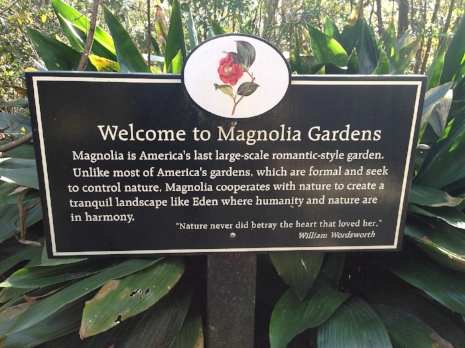 A sign for the gardens on the plantation