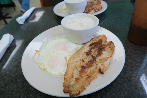 Grilled catfish, eggs, and grits!