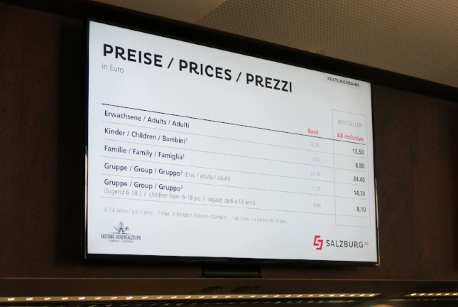 Prices for Fortress in Salzburg, Austria