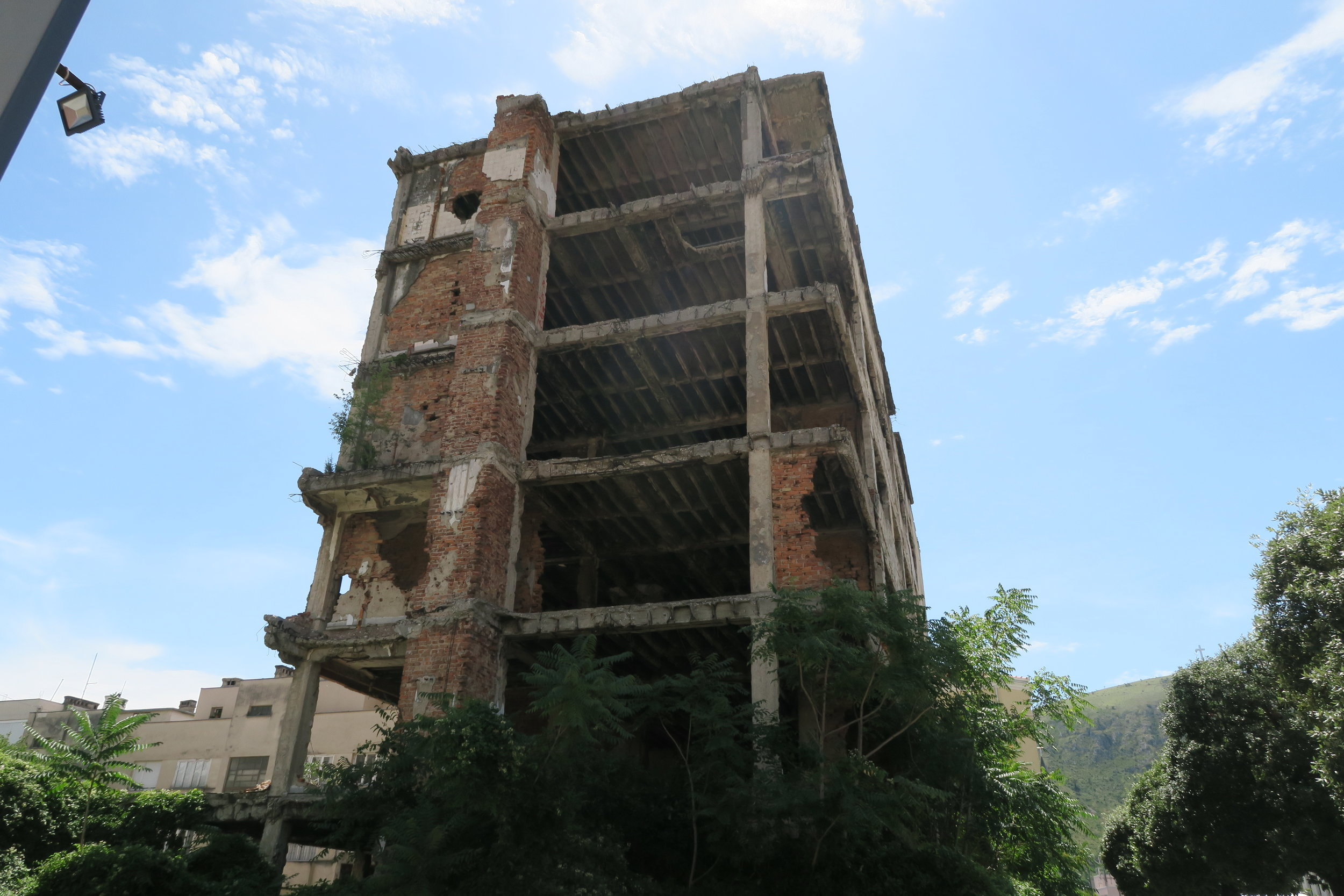 Shelled building in Mostar, one of many