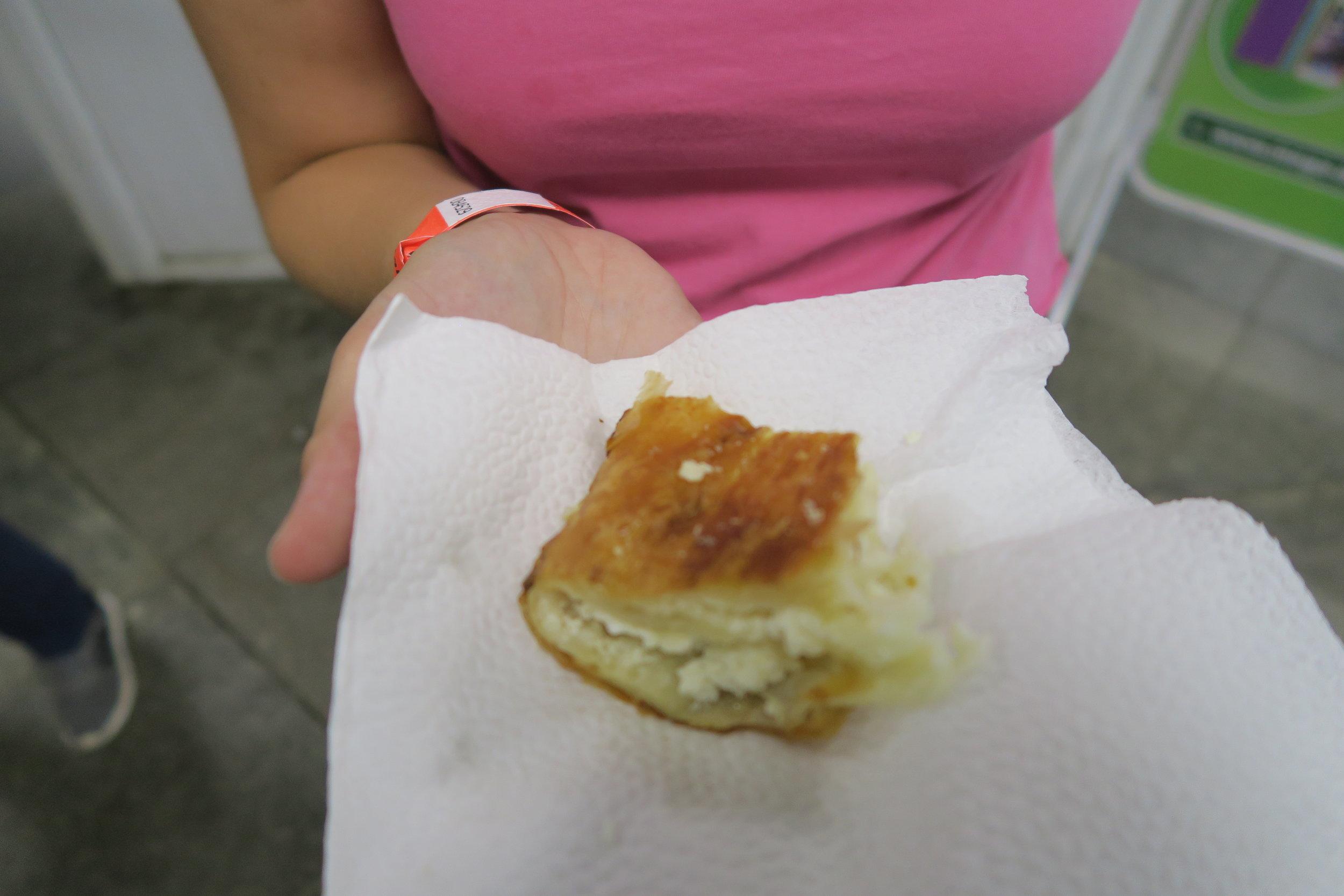 Just a smidge of glorious cheese banitsa in Sofia, Bulgaria