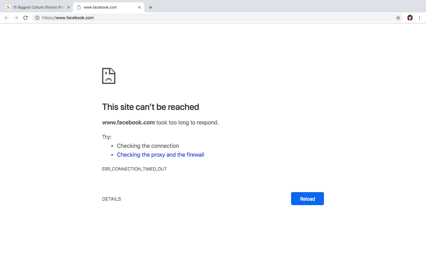 What happens when you try to go on a site like Facebook without a VPN in China