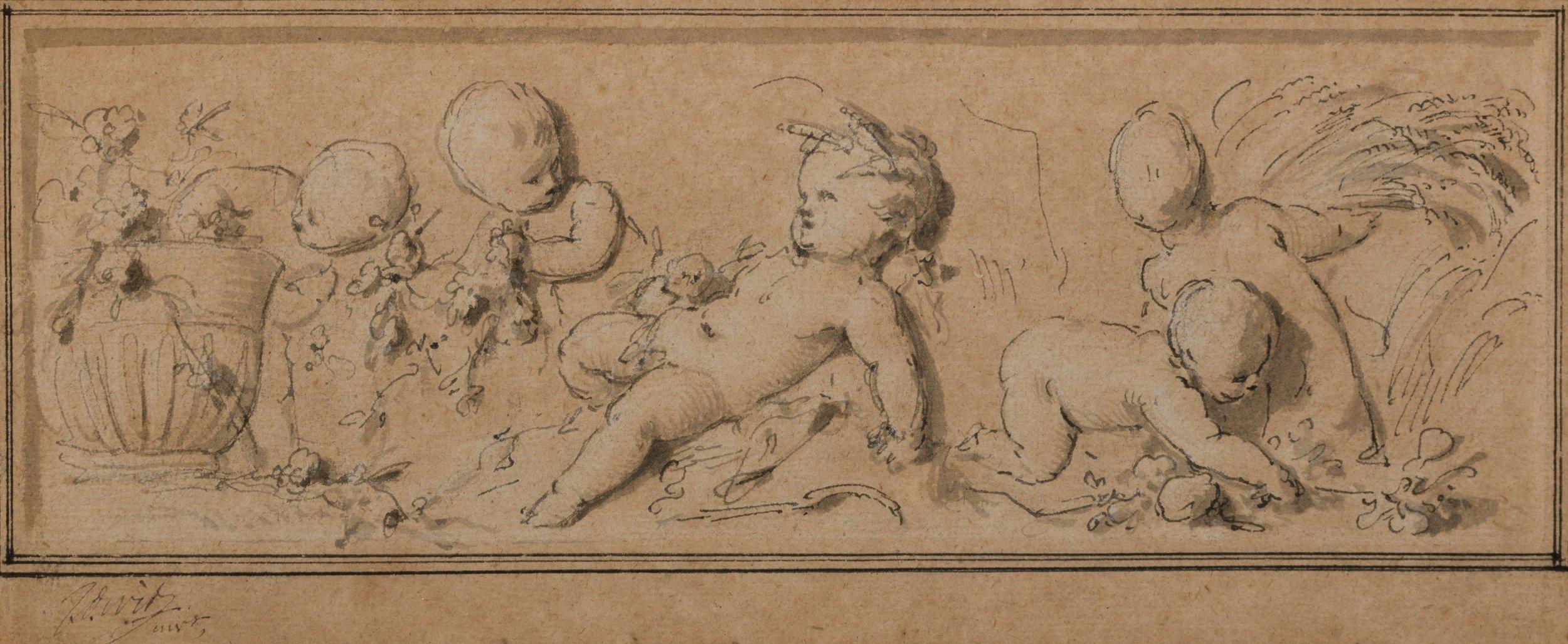 Ontwerpschets 'Lente en Zomer', Jacob de Wit, 1747. Oorspronkelijke locatie buitenplaats Outshoorn Rijswijk. Collectie Haags Gemeentearchief, Den Haag. Foto: Onno van Seggelen