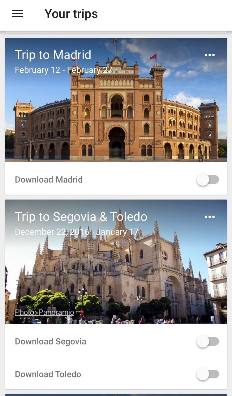 When you open the app you may be presented with an automatically populated list of your upcoming trips.