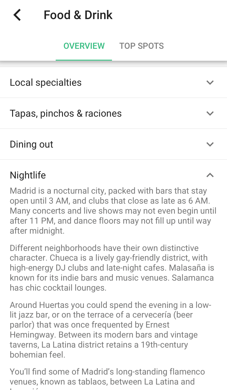 """""""Food and Drink"""" section. Not only does it function similarly to Trip Adviser or Yelp but it contains other more specific information to your destination."""