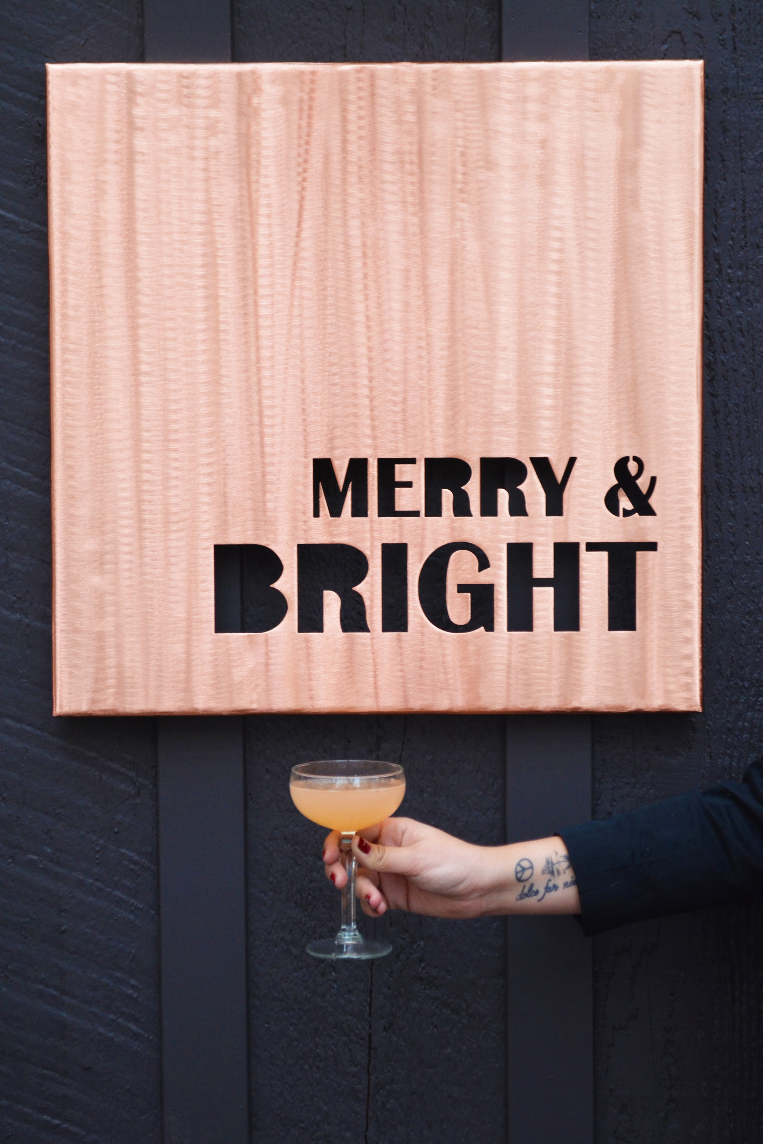 The Above a Persimmon cocktail and a matching bit of festive copper wall art (by me! Not entirely shameless plug:    katerichardsart.com   )