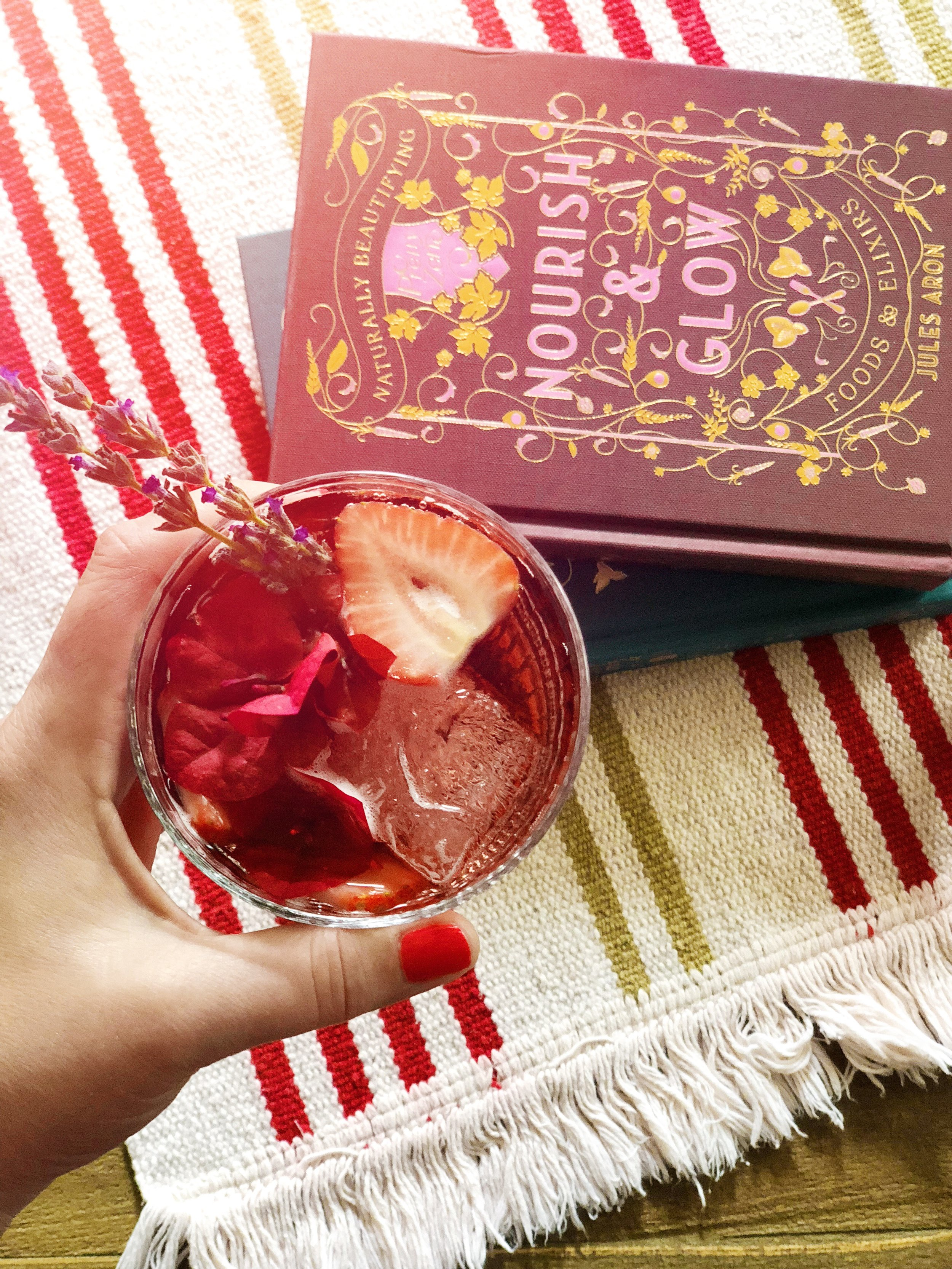 Petals and Blooms Beauty Punch from Jules Aron's Fresh & Pure book |drinkingwithchickens.com
