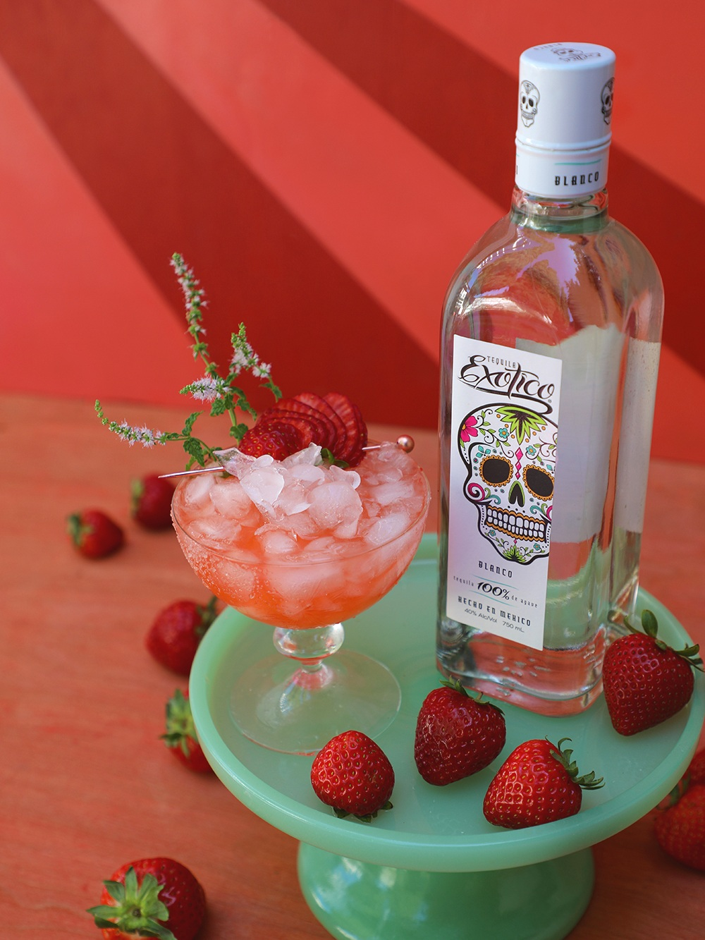 Strawberry Fields Forever Margarita made with fresh strawberry mint, strawberries, and Exotico Tequila Blanco | drinkingwithchickens.com
