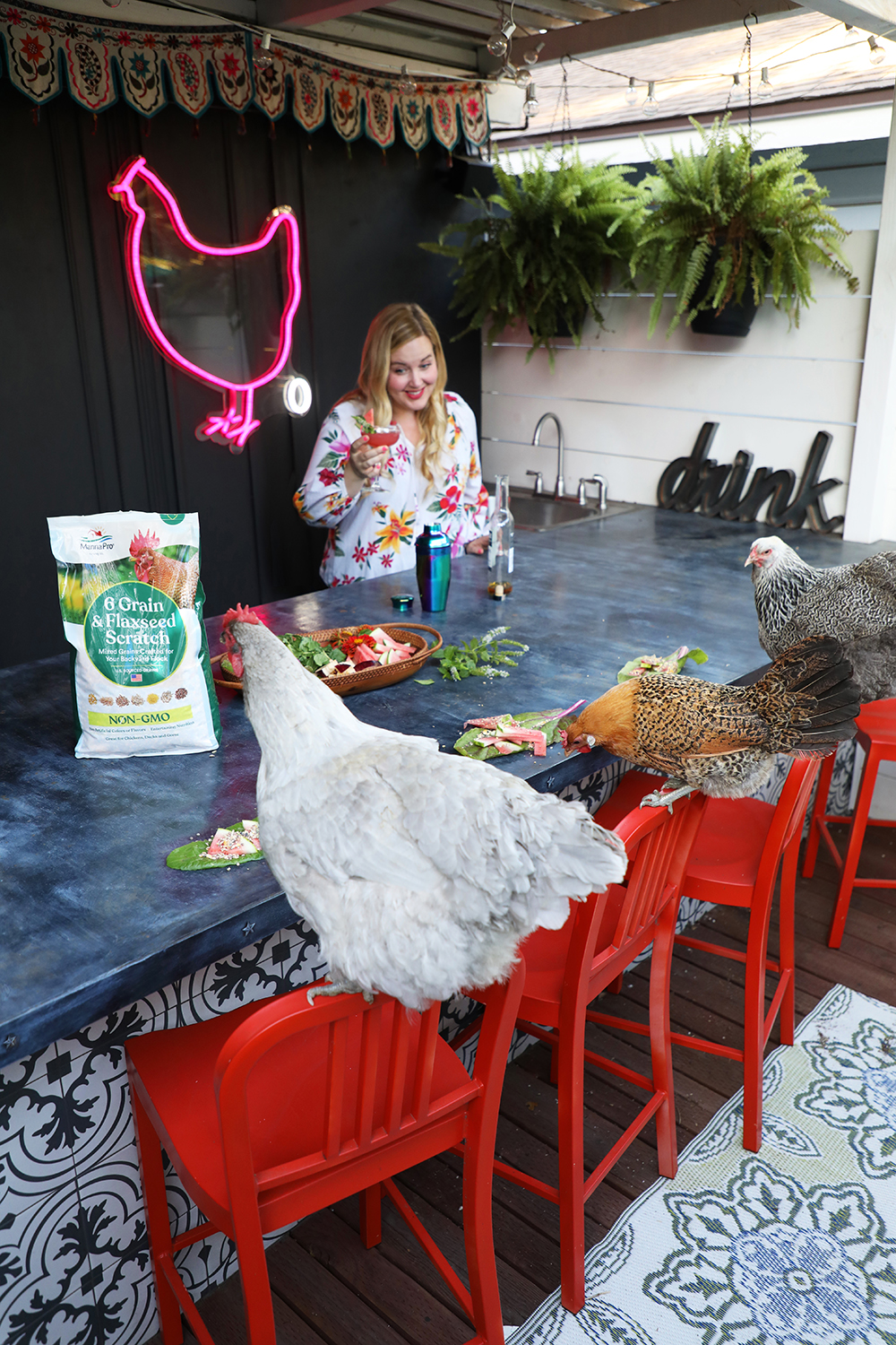 Happy hour treats in the Chicken Bar with Manna Pro poultry | drinkingwithchickens.com #sponsored