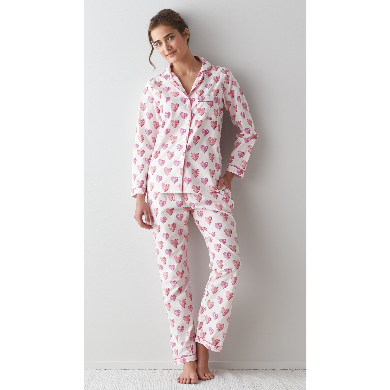 Printed Woven Cotton Poplin Pajama Set – Heart To Heart