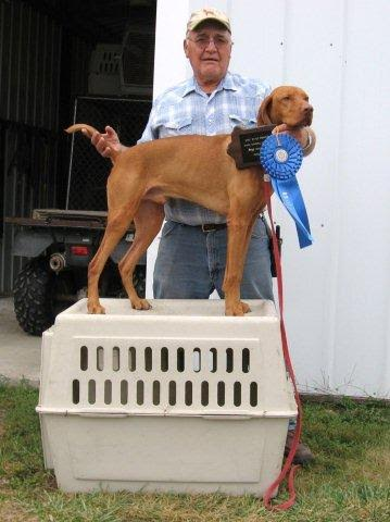 Cash wins blue at Field Trial Photo Credit: Kay and Steve Hartley