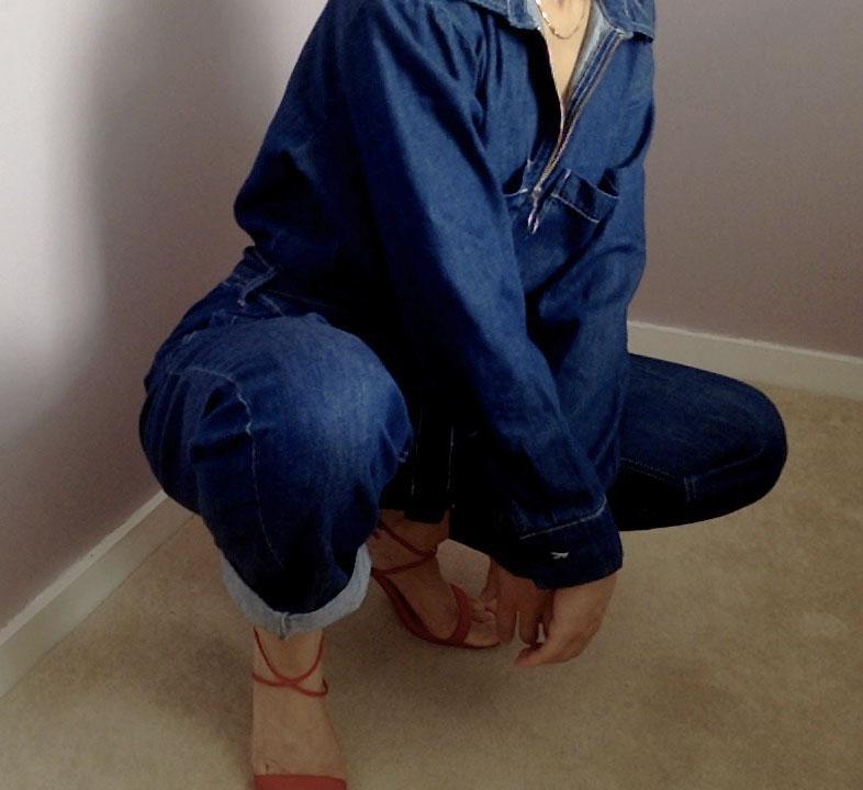 Denim Jumpsuit & Red Heels     OUTFIT DETAILS:    Jumpsuit    (   similar   ) (   similar   )/ Heels (   similar   )