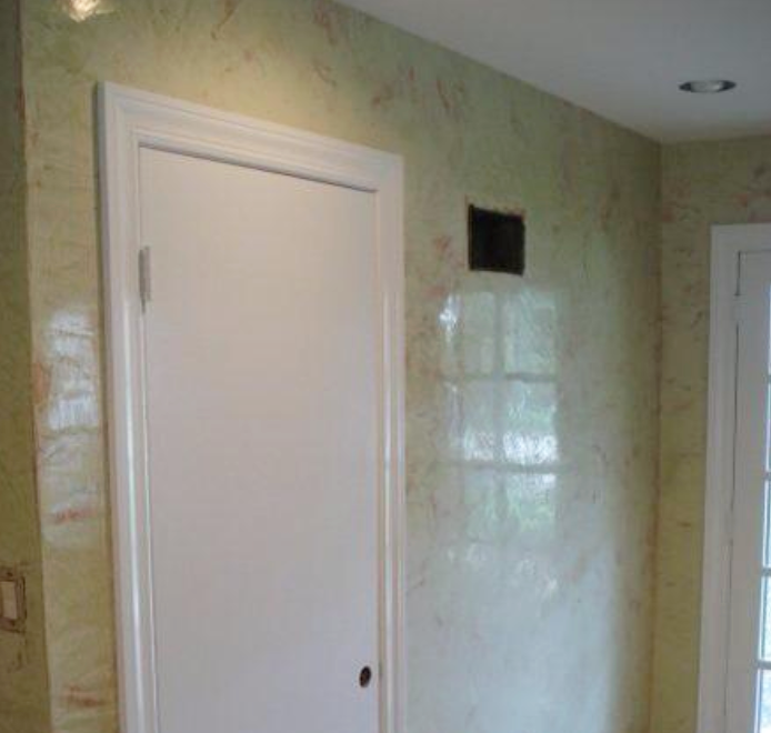 Polished Plaster - This product is applied & polished by hand. It consists of slaked lime & marble dust that can be tinted to any color. It can be sealed with natural bees wax paste to enrich the depth of texture and protect from moisture. This type of finish is very natural, it looks great from every angle and reflects light beautifully.