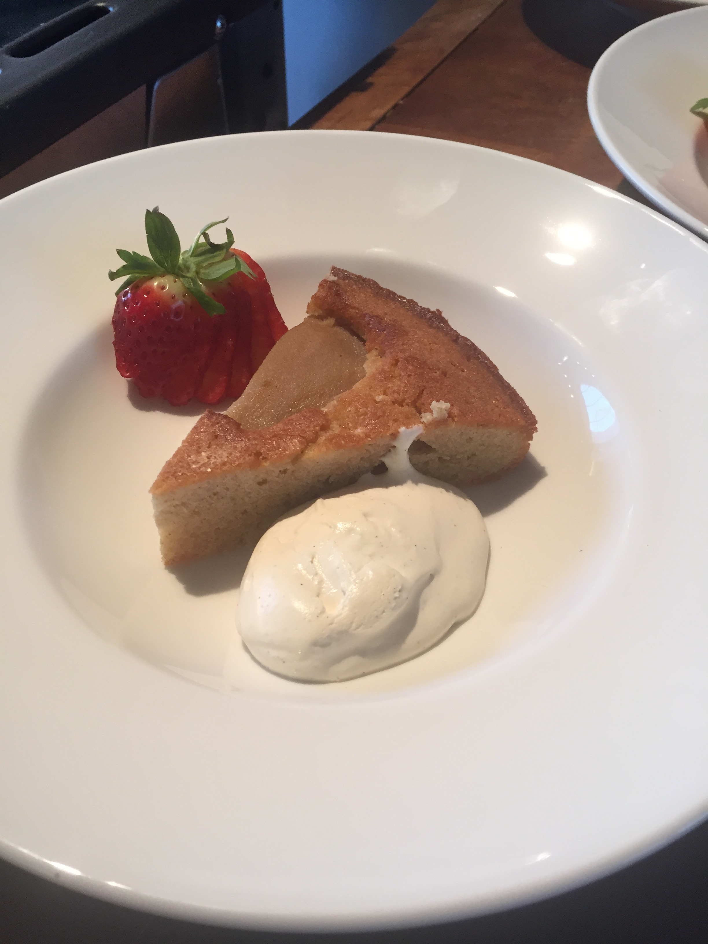GF poached pear and almond cake, with whipped vanilla cream