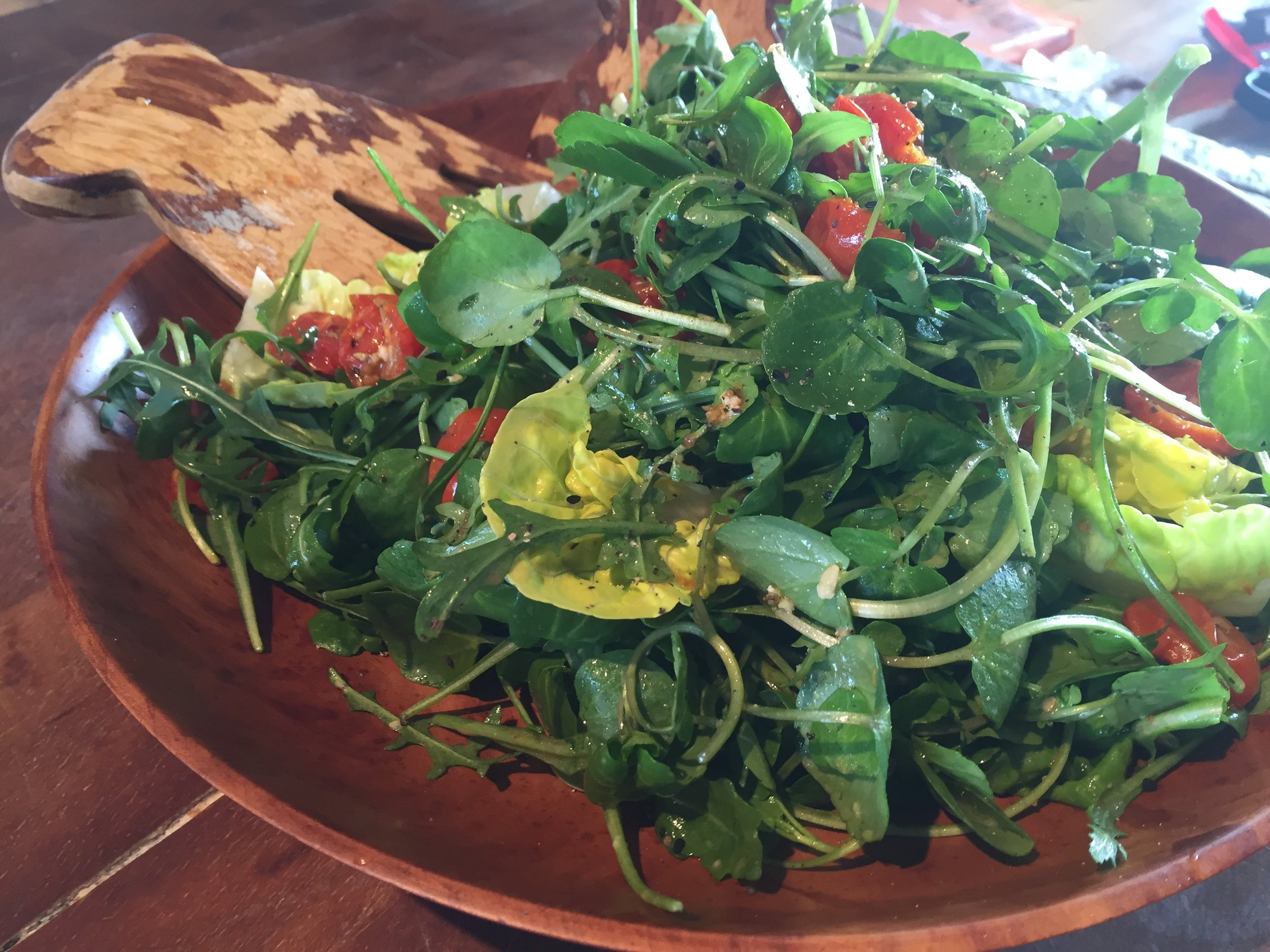 Dressed fresh salad, perfect with BBQ'd meats