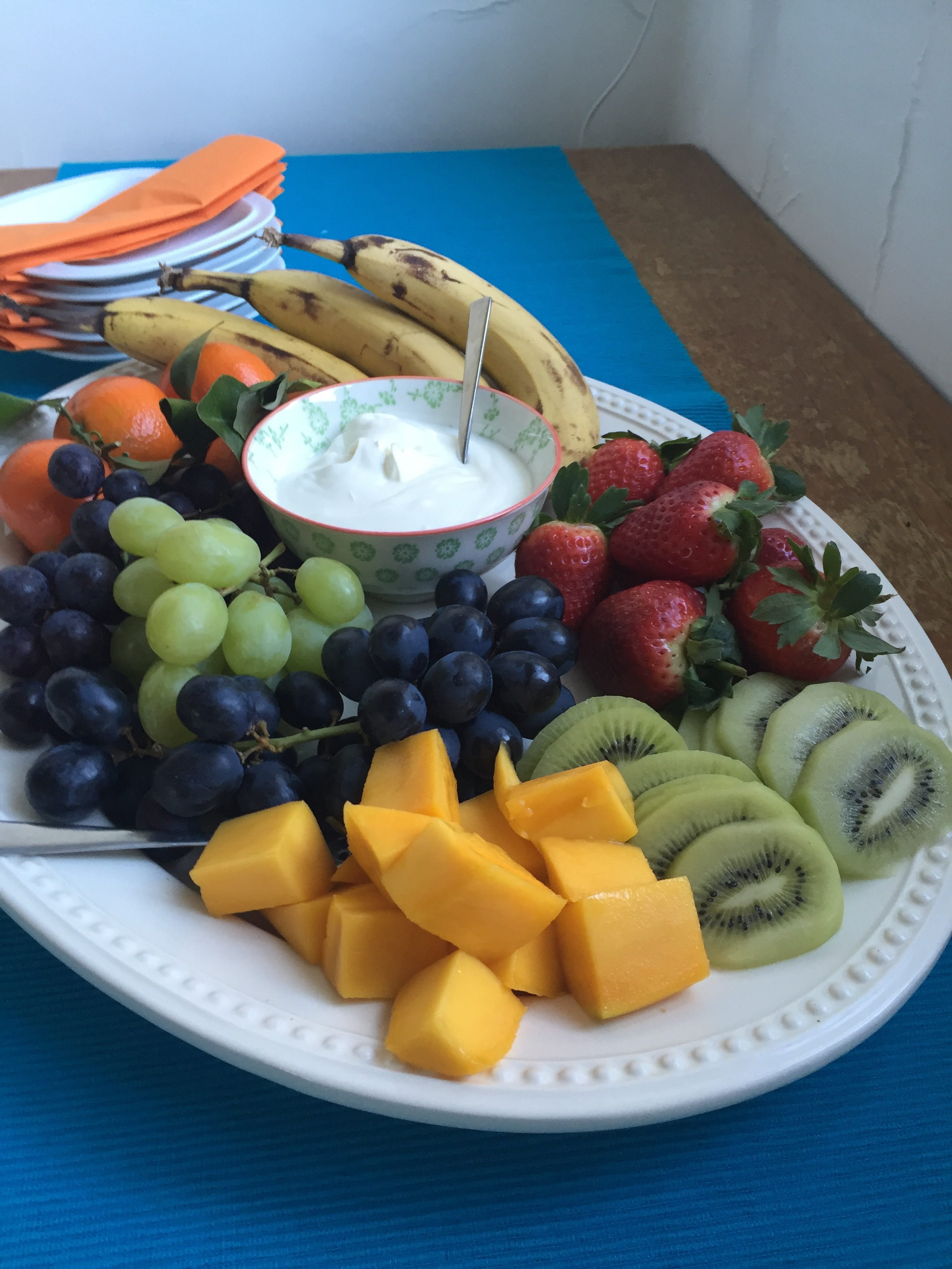 Welcome fresh fruit plate, healthy start for a healthy mind...