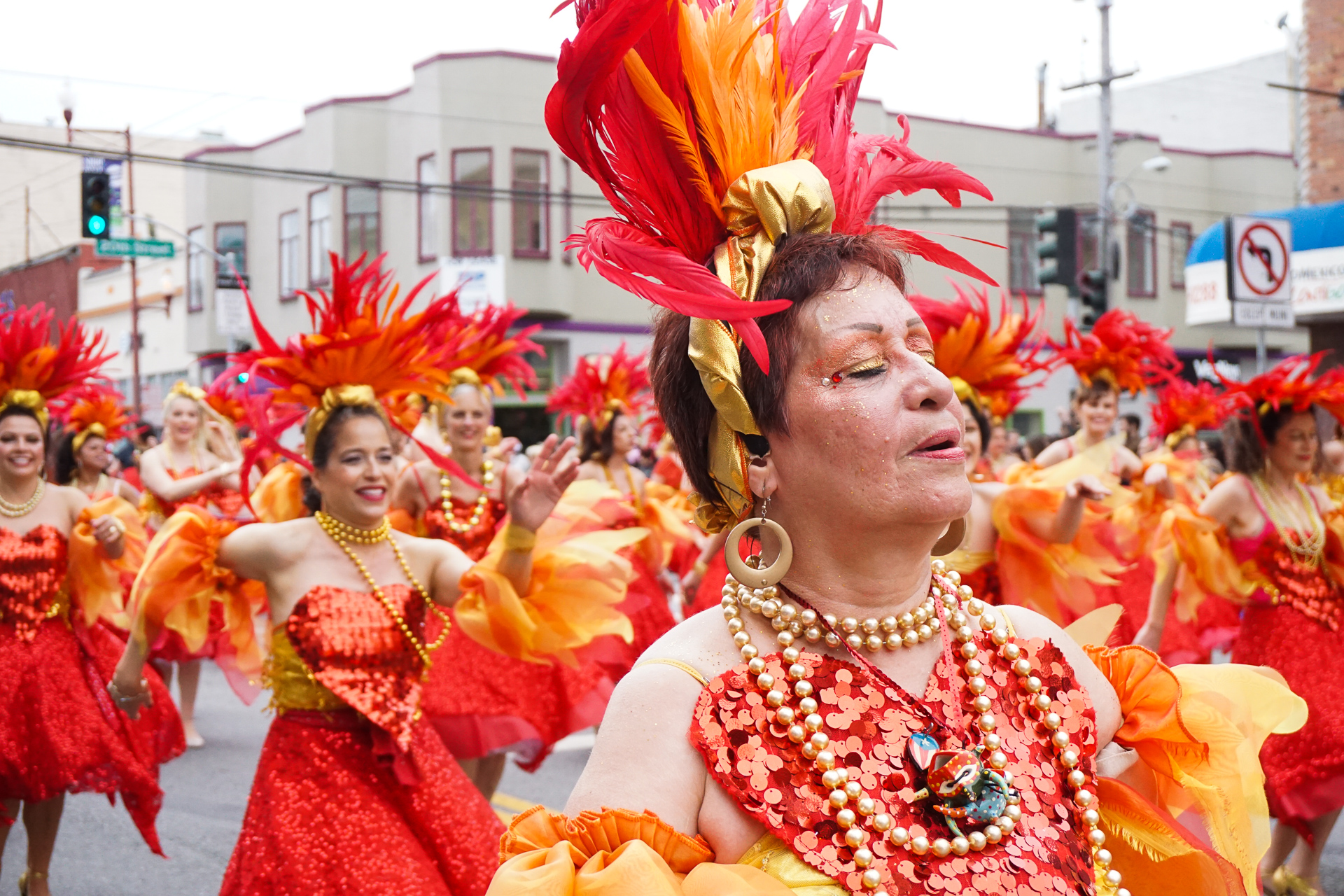 Dancer takes in the moment during the Mission District's Carnaval parade.