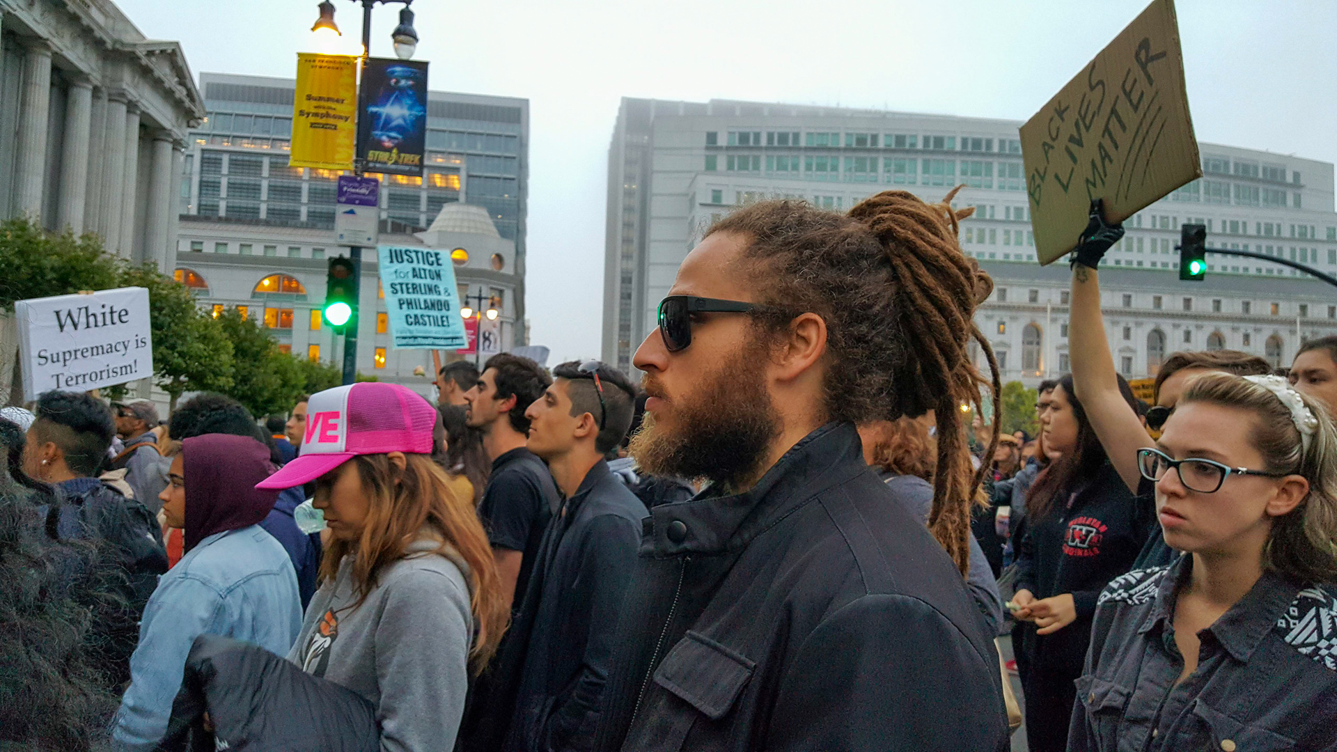 Black Lives Matter protesters gather in front of San Francisco City Hall.
