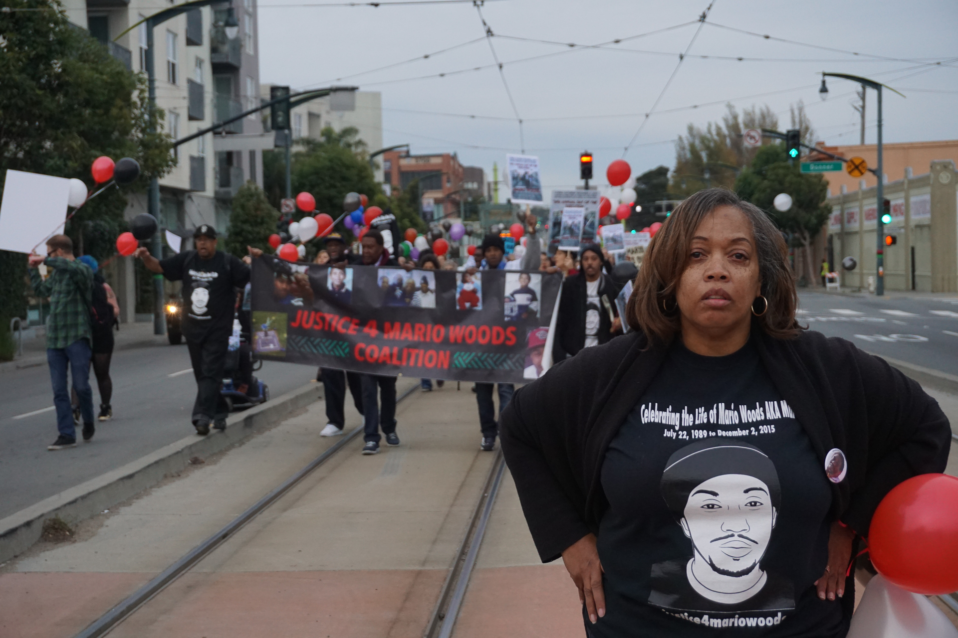 Mother of Mario Woods, leads anti-police brutality march in the Bayview District on Dec. 2, 2017.