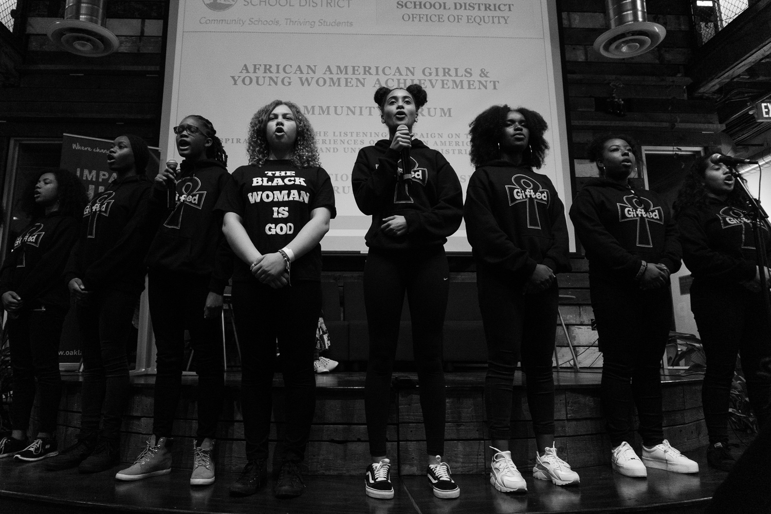 Young Gifted & Black teen poets perform during a program supporting African American Female Excellence in the Oakland Unified School District.