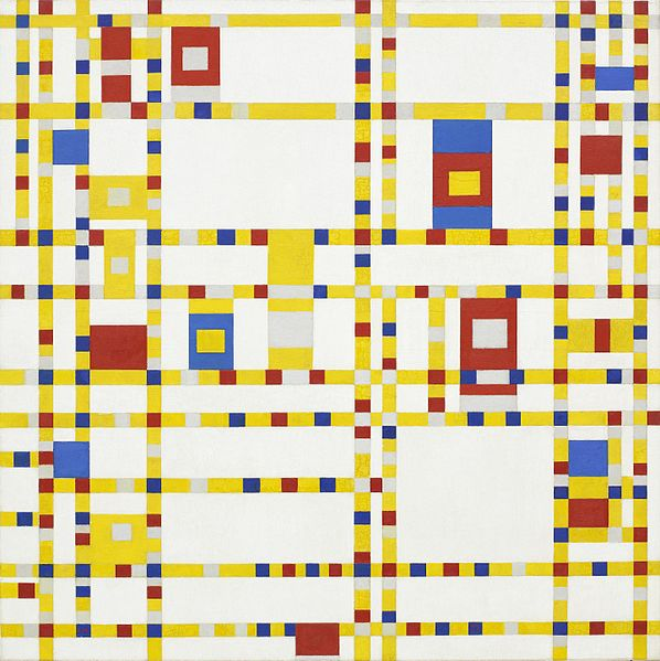 Broadway Boogie Woogie     by   Piet Mondrian between 1942 and 1943